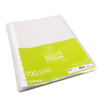 100 pochettes perforées grainées - A4 - Cultura