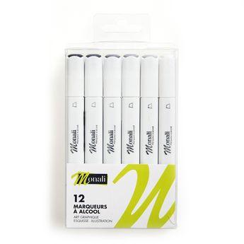 12 marqueurs gris - Monali