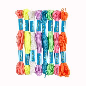 Set 8 fils à broder couleurs fluos Créalia