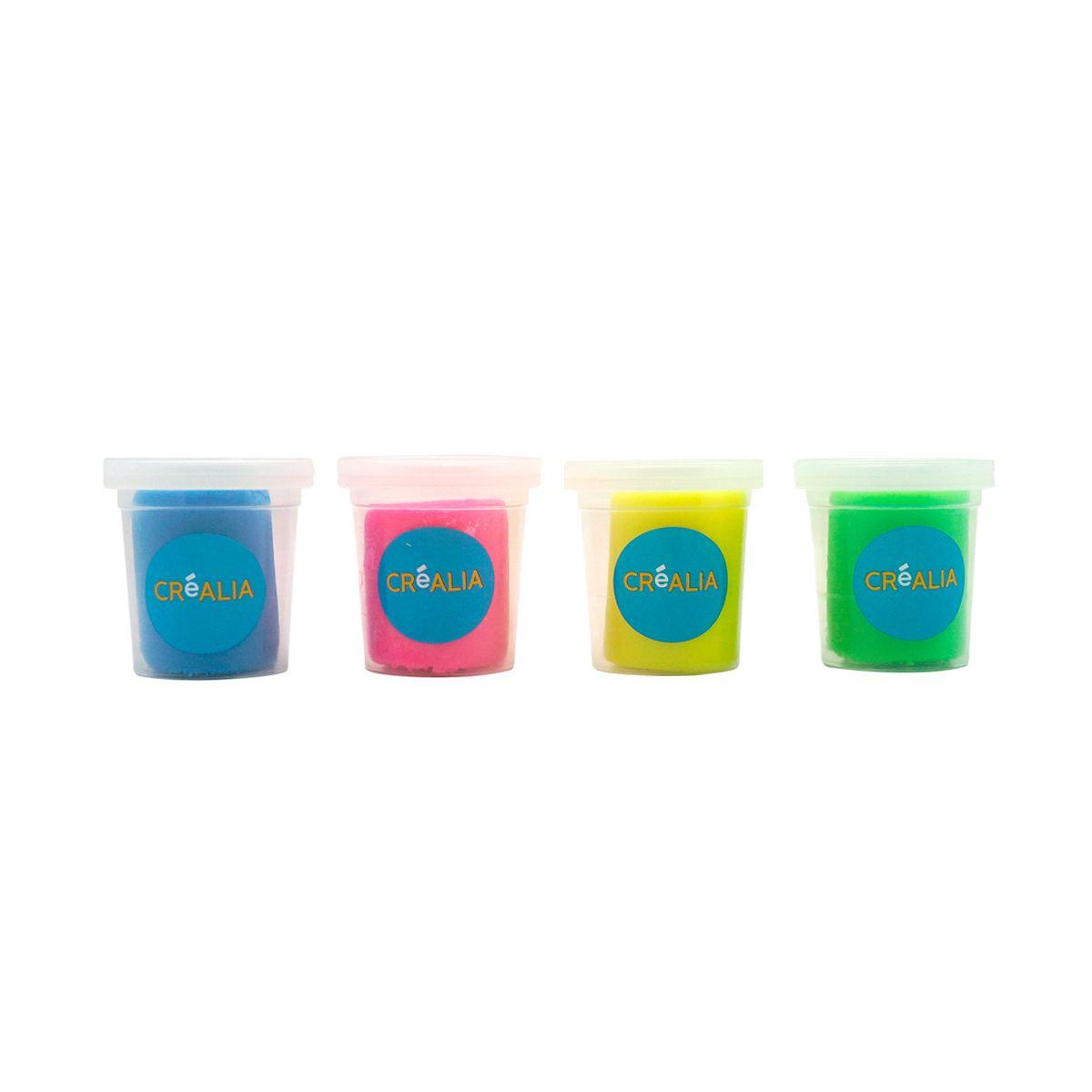 Set de 4 pots de pâte à modeler couleurs fluorescentes - Créalia