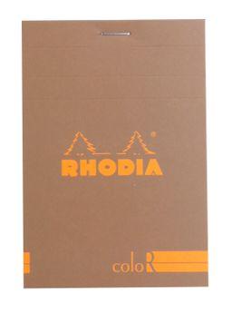 Bloc agrafé Rhodia coloR N°12 TAUPE 8,5x12cm 70F ligné 90g