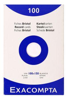 100 fiches Bristol non perforées - 10x15 cm - uni