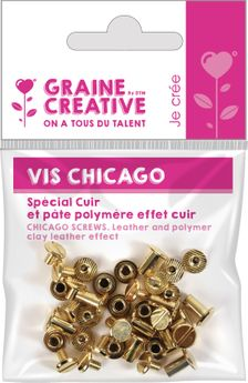 20 vis chicago - attaches pour cuir h10mm x ø9,5 mm
