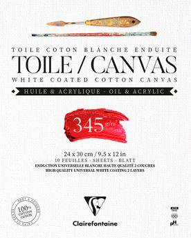 Bloc de 10 feuilles de toile coton blanc enduites Fleur de Lys Clairefontaine - 24 x 30 cm 345 g/m²