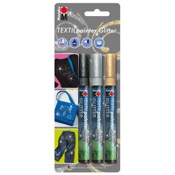 Set de 3 feutres - Textil Painter Glitter -  Pailleté - 3 mm - Marabu