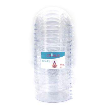 10 boules en plastique transparent à assembler - Créalia