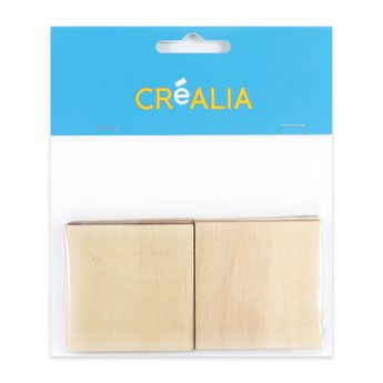 10 carrés en bois 5 cm - couleur naturelle - Créalia